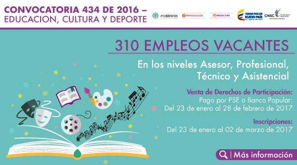 Inscribete para 310 empleos vacantes de los niveles for Convocatoria docentes 2016 ministerio de educacion